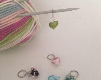 Glass Heart Charm Knitting Stitch Markers. Set of 5 mounted on a hoop and contained in a small voile bag