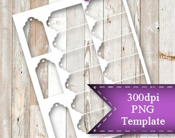 """INSTANT DOWNLOAD  3"""" x 1.5"""" Tag Template,  8.5""""x11"""" Transparent PNG"""