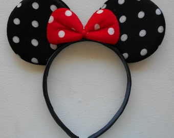 1 pc Minnie Mouse Ears Headband White Dot Black Red Bow Hat NEW