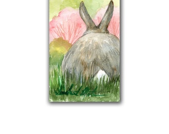 Wild Bunny CottonTail Original Nursery Watercolor Original LLMartin New Mom Rabbit Free Shipping USA