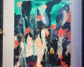 Abstract art, Original abstract painting, mixed media collage, teal and orange wall art, advertisement inspired art