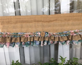 New French vintage Twine -Shabby Rustic Chic BURLAP  Valance Curtain Floral.