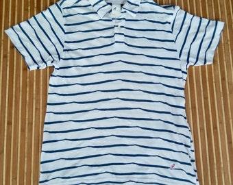 Vtg KANGOL BLUE Stripes Polo Shirt