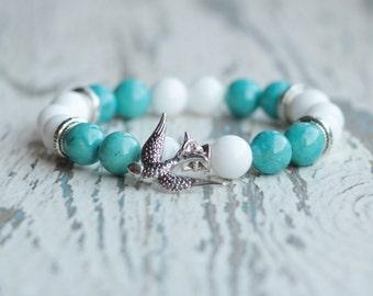 bird bracelet blue and white boho bracelet women beaded bracelets bird charm gift for sister neighbor Birthday gift free bracelet girlfriend