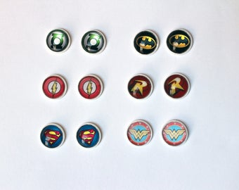 DC COMICS Stud Earrings Silver DC Comic Inspired Jewelry Superman Batman Robin Wonder Woman The Flash Green Lantern Justice League Nerd Geek