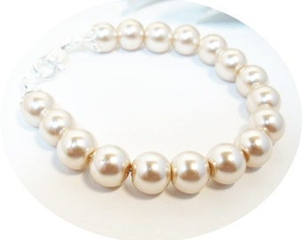 Champagne Bracelet, Champagne Pearls, Bridesmaid Gift, Bridal Bracelet, Bridesmaid Jewelry, Bridal Accessories, Pearl Bracelet