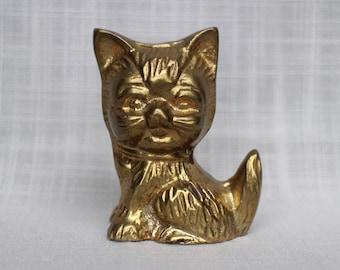 Vintage Brass Kitten Figurine, Cute Kitten Miniature, Small Brass Cat Figurine, Brass Cat Kitten Paperweight