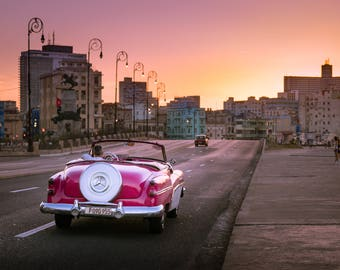 Pink Classic Car at Sunset in Havana - Photography Fine Art Print, 1950s Car, Cityscape, Travel Photography, Cuban Art, Cuba Car, Skyline