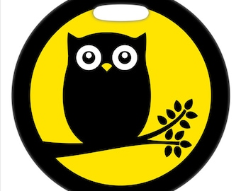 Luggage Tag - Full Moon Owl - 2.5 inch or 4 Inch Round Large Plastic Bag Tag