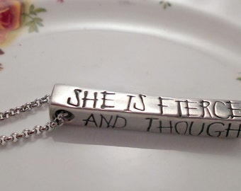She is Fierce Necklace.  And though she be but little she is Fierce Necklace.  William Shakespeare Necklace/Pendant/Jewellery/Jewelry