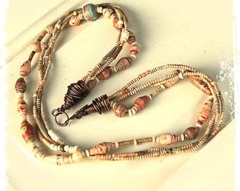 Hippie Necklace, Gypsy Necklace, Tribal Necklace, Rustic Bohemian Necklace, Short Boho Necklace, Layering Necklace, Multi Strand Necklace,