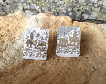 Cutting Horse Earrings / Sterling Silver/ 12kt GoldFill/ Artisan Handmade/sterling silver posts