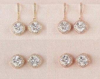 Bridal Earrings Studs, Cushion Cut Gold wedding earrings, Stud Earrings, Rose Gold, Bridesmaids Wedding Jewellery,  Molly Earrings