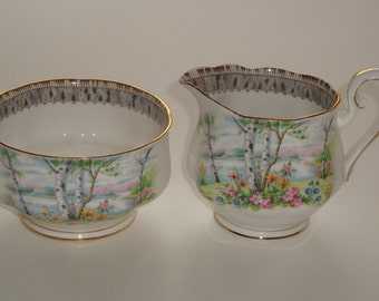 Royal Albert SILVER BIRCH Large Cream and Open Sugar