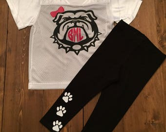 UGA Georgia Bulldogs Inspired Jersey shirt and Pants Outfit