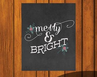 Christmas Chalkboard Printable / Merry & Bright / Holiday Printable / Christmas Art / 8x10 / Chalkboard Art
