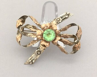 HOBE Sterling Silver Brooch Gift for Wife, Statement Rhinestone Brooch, 1940s Vintage Jewelry Flower Brooch, Hobe Bow Brooch Gift Idea