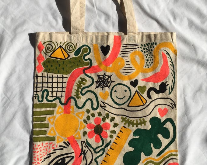 Featured listing image: Tote Bag / Handpainted Cotton Bag by Sam Pletcher / 15 inches By 15 inches