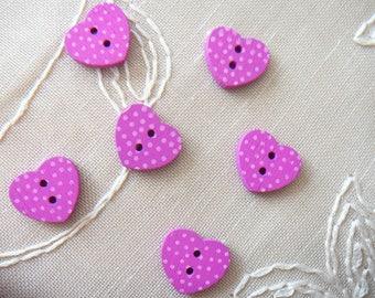 Pink fuschia polka dots, new, 2 holes wooden - 6 buttons 15 mm