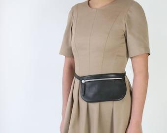Belt Bag Mini Black, Leather Fanny Pack, Hip Bag, Mini bum bag, festival bag