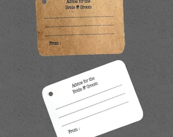 Advice for the bride and groom tags, mini cards, 40 Wedding cards, Personalized Tags