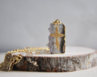 Amethyst Necklace, Raw Stone, Moonstone Necklace, Cross Necklace, February Birthstone, June Birthstone, Birthstone Jewelry, Stone Necklace