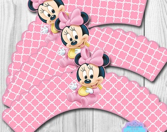 Baby Minnie Mouse Cupcake Wrappers, Cupcake Liner DIGITAL FILE, You Print