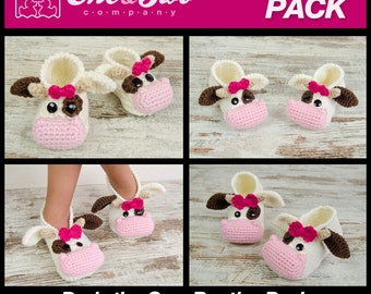 Doris the Cow Booties Pack - PDF Crochet Patterns - Baby, Toddler and Child sizes - Baby Newborn Slippers