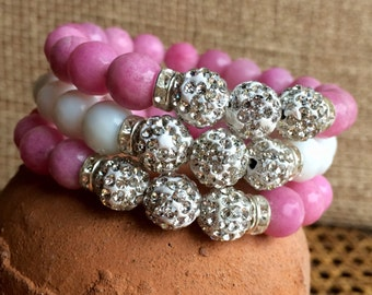 Choice of color: Dyed white jade and polymer clay rhinestone pave 10mm beads statement bracelet. Stack them up or wear alone.