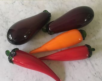 Vintage Murano Glass Vegetables Handblown Glass Eggplant Red pepper Carrot retro home decor farmhouse chic