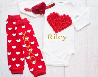 Baby Valentines Day Outfit / Red Baby Outfit-Newborn-Toddler Valentines Day Clothing-Personalized Valentines Bodysuit