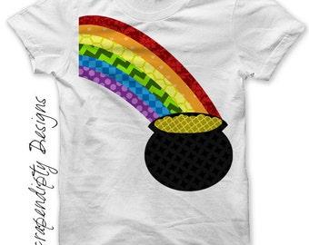 St Patricks Day Iron on Shirt PDF - Rainbow Iron on Transfer / Kids Baby Toddler Shirt / Digital Iron on Patch / Cute Kids Clothing IT158