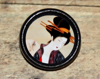 Asian HAIRSTICK GEISHA art Pendant or Brooch or Ring or Earrings or Tie Tack or Cuff Links