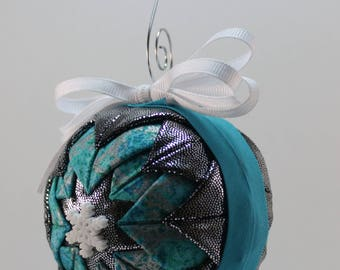 Snowflake Folded Fabric Quilted White Silver and Blue Handmade Ornament