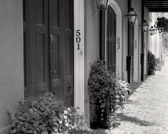 New Orleans Louisiana, Black & White Photo, Burgundy Street, The French Quarter, Gas Lamps, Carriage House, Black and White Louisiana Photo