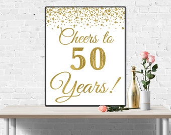 50th Birthday Sign, Cheers to 50 Years, 50th Anniversary Banner, Gold Birthday Party Decorations, 50th Wedding Sign, Funny Birthday Decor