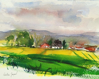 Original watercolor of a countryside landscape in the yellow fields with farms, original landscape painting French, landscape Lorraine