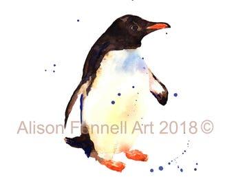 Watercolour PENGUIN Print, penguin painting, kids wall art