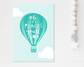 Oh The Places You'll Go Print Hot Air Balloon Nursery Wall Art Mint Aqua Nursery Decor Kids Room Print Inspirational Quote New Baby Gift