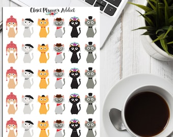 Cats In Cool Hats Planner Stickers | Cute Cats | Cat Lover Stickers | Cat Stickers | I Love Cats Stickers | Funny Cats Stickers (S-073)