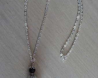 Silver necklace with silver-plated figure / hand made / unique