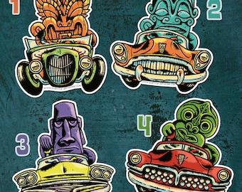Tiki & Hot-rod stickers, tiki bar, kustom kulture, rockabilly, custom car, pin up, greaser, grearhead, punkrock, collector, limited edition