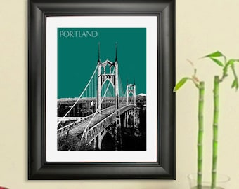Portland Skyline - St. Johns Bridge Poster - Portland Oregon Skyline Art Print
