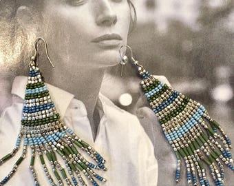 Beads silver, blue and khaki - Hippie, Bohemian earrings