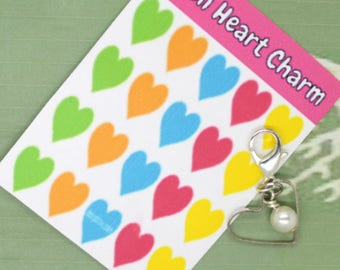 Open Heart Charm - Open Heart Clip - Keychain Charm - Zipper Pull - Bracelet Charm