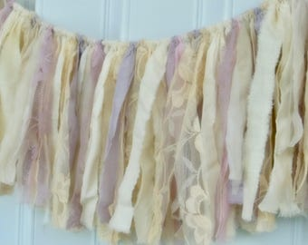 boho rag curtain, pink lavender, fabric banner, strip banner, window swag, infant photo prop, nursery decor, shabby boho