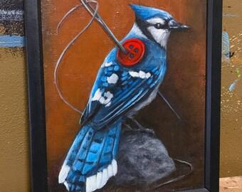 A Thin Blue Thread original acrylic painting on canvas panel. Modern surreal art