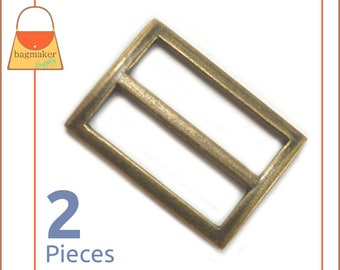 "1.25 Inch Center Bar Slide, Antique Brass / Bronze Finish, 2 Pack, 1-1/4"", 1.25"" Purse Supplies Strap Slider Buckle Hardware, BKS-AA076"