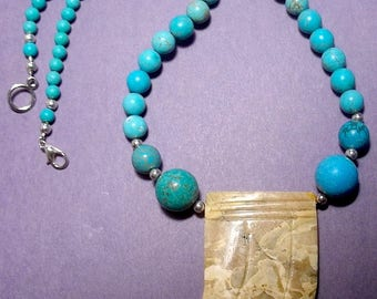 Jasper Focal with Magnesite Necklace