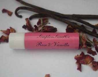 Rose Vanilla Lip Balm, Homemade Lip Balm, Beeswax Lip Balm, Vanilla Infused Jojoba, Lip Hydration